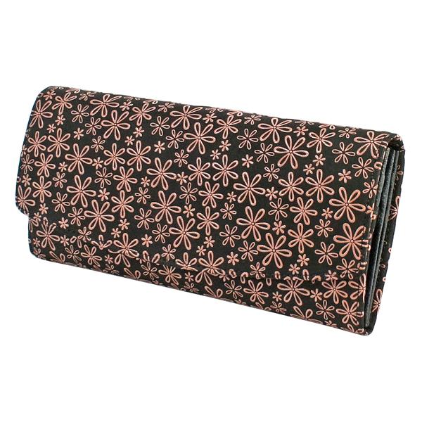 520a2d98223d 印伝 2314-51-160 雪割草柄 黒×ピンク 小銭入が大きく開き カード入も28 ...