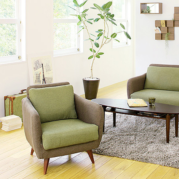 Take one abolished turn Garbo Garbo 1P sofa; two-tone cloth tension fabric  sofa wooden frame brown green beige fashion North Europe
