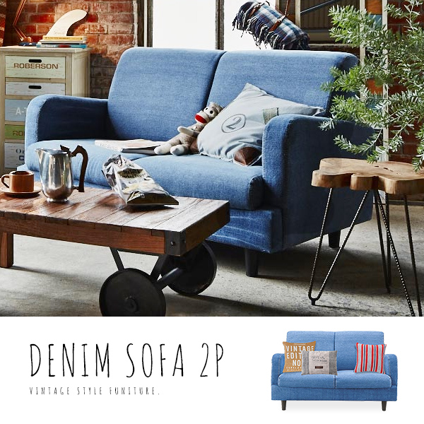 Denim sofa jeans sofa 2 p 2-seat sofa fabric sofa cotton upholstered West Coast wind California style relaxed surf style fashionable American vintage casual ...