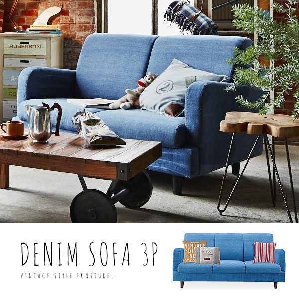Denim Sofa Jeans Sofa 3 P 3 Seat Sofa Fabric Sofa Cotton Upholstered West  Coast Style California Style Relaxed American Vintage Surf Style Fashion  Casual ...