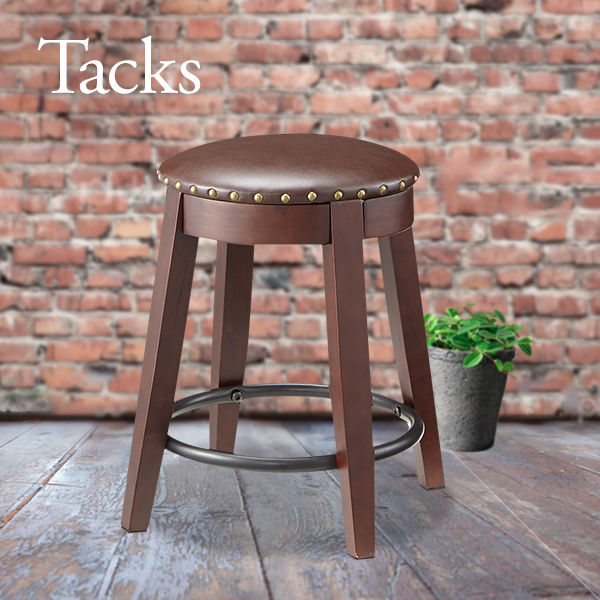 革張り木製スツール Stacks Stool スタッズ使い 鋲打ちがおしゃれ ソフトレザースツール ノーマルタイプ 木製 椅子 天然木製 アイアン シック ヴィンテージ レトロ かっこいい アンティーク 男前[k]