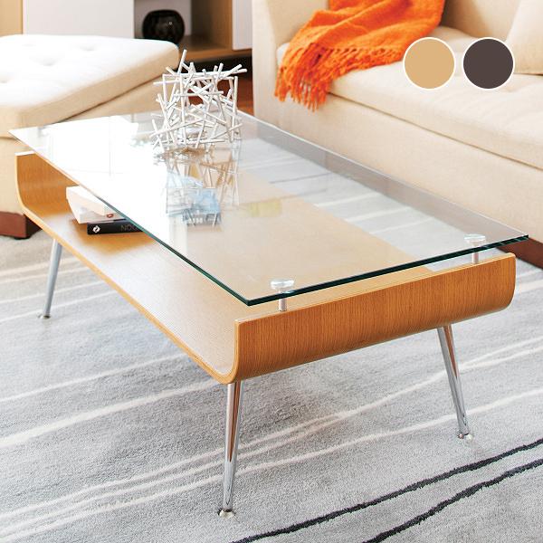 ガラステーブル ローテーブル 曲げ木テーブル ディスプレイ収納 センターテーブル 木製 ブラウン ミッドセンチュリー北欧モダン 幅96cm 高さ34cm[d]