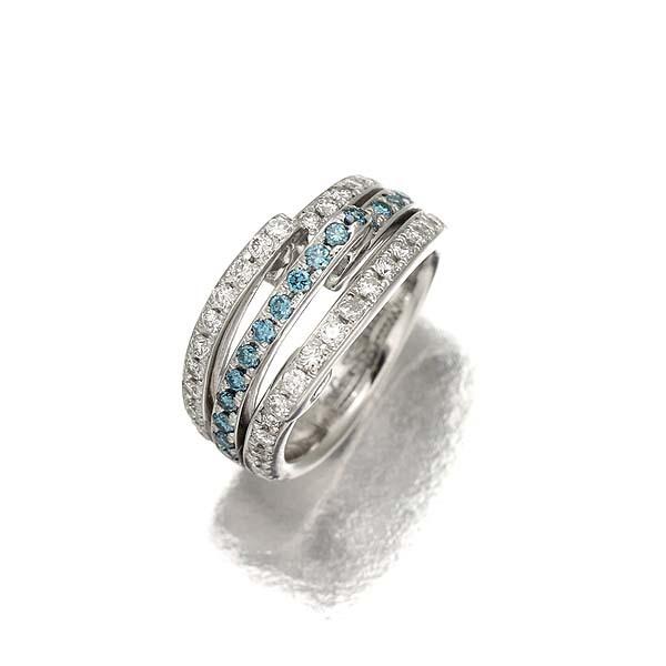 【ブルーダイヤモンドリング】Pt900 ダイヤモンド 0.67ct ブルーダイヤ0.33ct デザインリング  12号 14.2g プラチナ