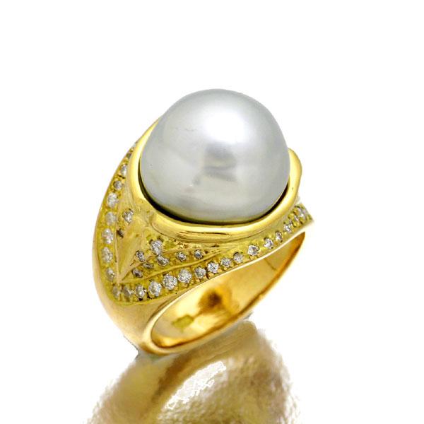 K18 パールダイヤモンドリング 9号