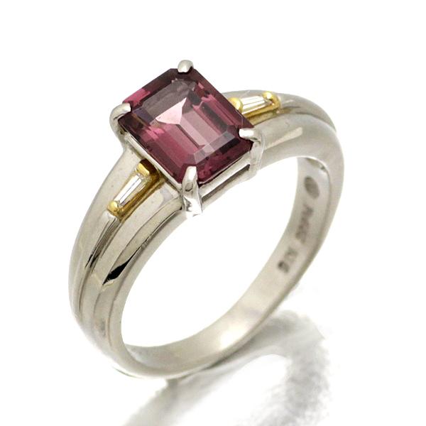 プラチナ K18YG ガーネット ダイヤモンド リング G1.98ct D0.07ct 12号
