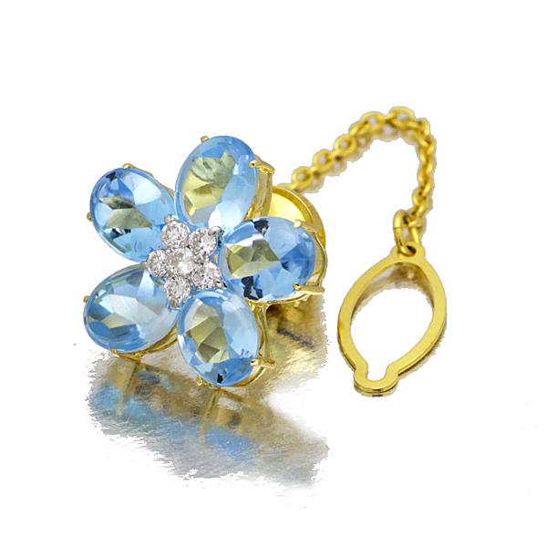 K18YG プラチナ 花モチーフ ブルートパーズ ダイヤモンド ブローチ D0.73ct