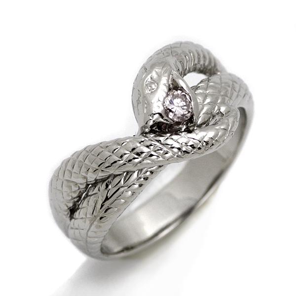 5e5857dfbd2a プラチナ 蛇デザイン ダイヤ リング D0.1ct 15.5号 -指輪・リング ...