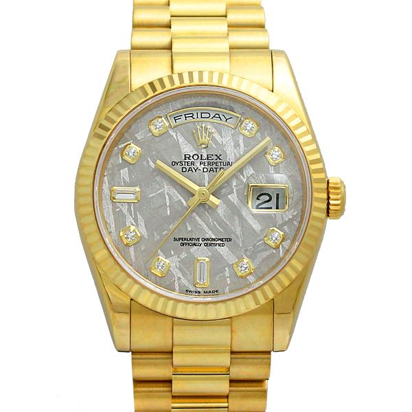 ロレックス ROLEX デイデイト 118238A メテオライト K18YG メンズ腕時計 2バケットダイヤ 8Pダイヤ D番 保証書有り