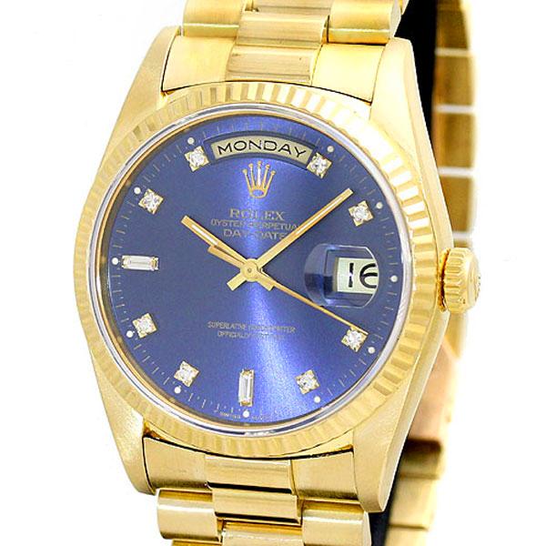 ロレックス ROLEX デイデイト 18238A ブルー文字盤 K18YG 金無垢 2バゲットダイヤ 8Pダイヤ 自動巻 メンズ腕時計 E番