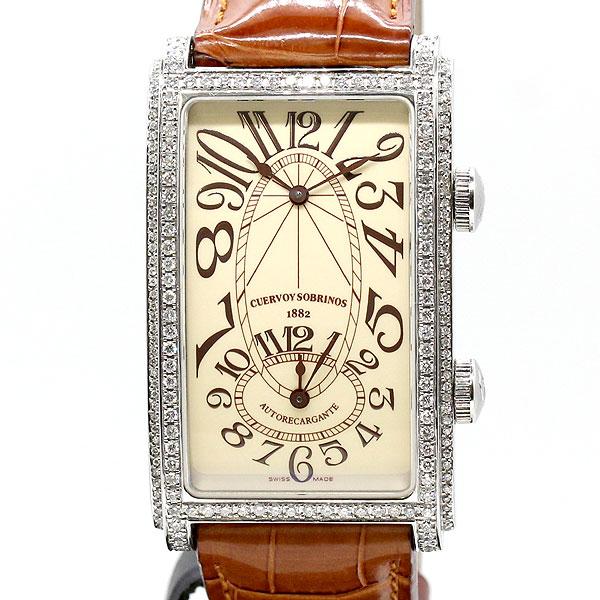 クエルボ・イ・ソブリノス CUERVO Y SOBRINOS プロミネンテ デュアルタイム 1112.1C.S3 メンズ腕時計 自動巻