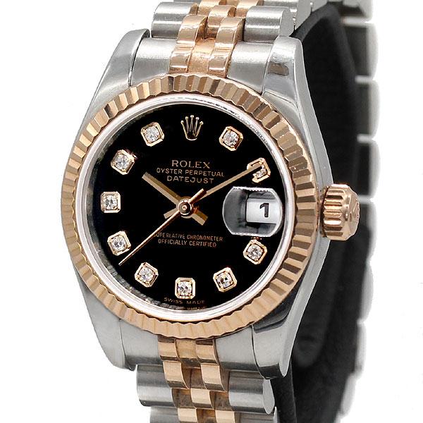 ロレックス ROLEX デイトジャスト 179171G K18PG ピンクゴールド 10Pダイヤ レディース腕時計