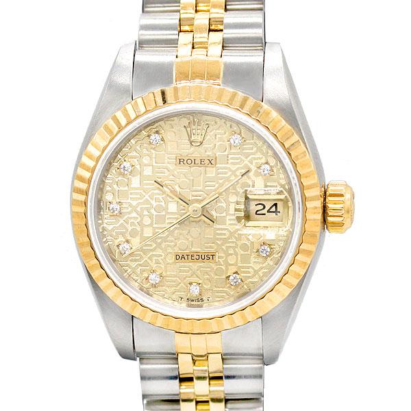 ロレックス ROLEX デイトジャスト69173G K18 10Pダイヤコンピュータ文字盤 レディース腕時計