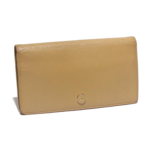 シャネル CHANEL ココボタン 長財布 二つ折り財布 ベージュ レザー ココマーク
