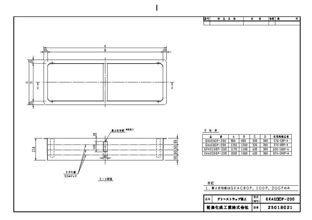 【送料無料】【納期:5営業日以内発送】前澤化成工業 FRP製グリーストラップ用嵩上 GKAC型(品番:GKAC100P-200)『81545』