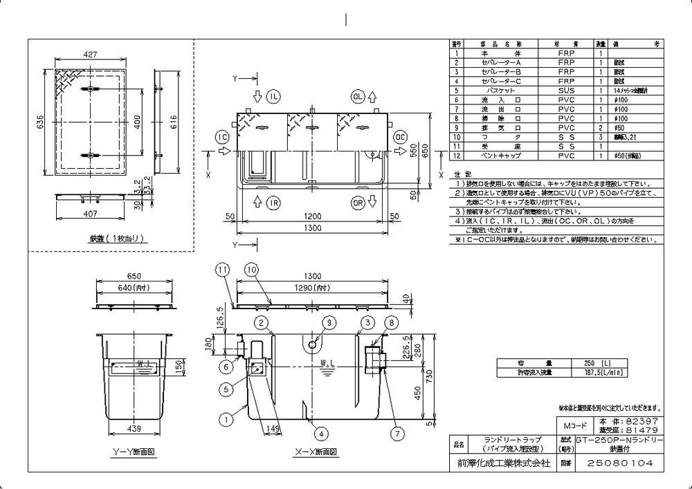 【送料無料】【納期:5営業日以内発送】前澤化成工業 FRP製ランドリートラップ パイプ流入埋設型GT-P(品番:GT-250P-Nランドリー 鉄蓋付)『82397-81479』