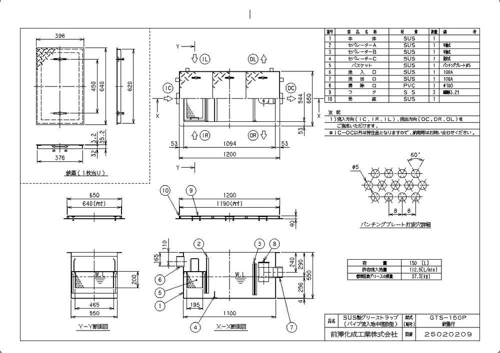 SUS製グリーストラップ 鉄蓋付) GTS-P(品番:GTS-150P 【送料無料】【納期:都度問合せ】前澤化成工業 パイプ流入埋設型