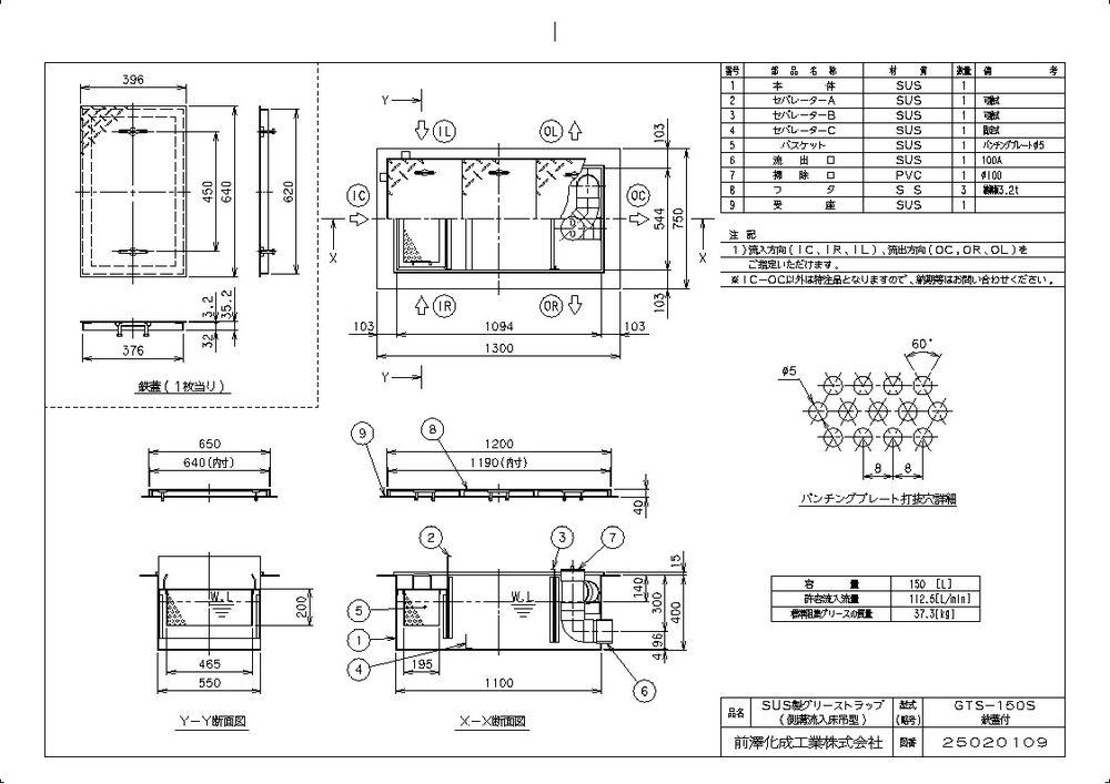 【送料無料】【納期:都度問合せ】前澤化成工業 SUS製グリーストラップ 側溝流入床吊型 GTS-S(品番:GTS-150S 鉄蓋付)