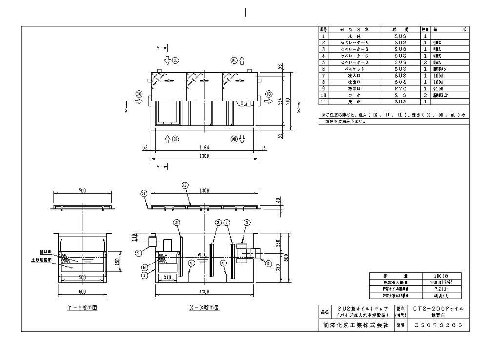【送料無料】【納期:都度問合せ】前澤化成工業 SUS製オイルトラップ パイプ流入埋設型 GTS-Pオイル(品番:GTS-200Pオイル 鉄蓋付)