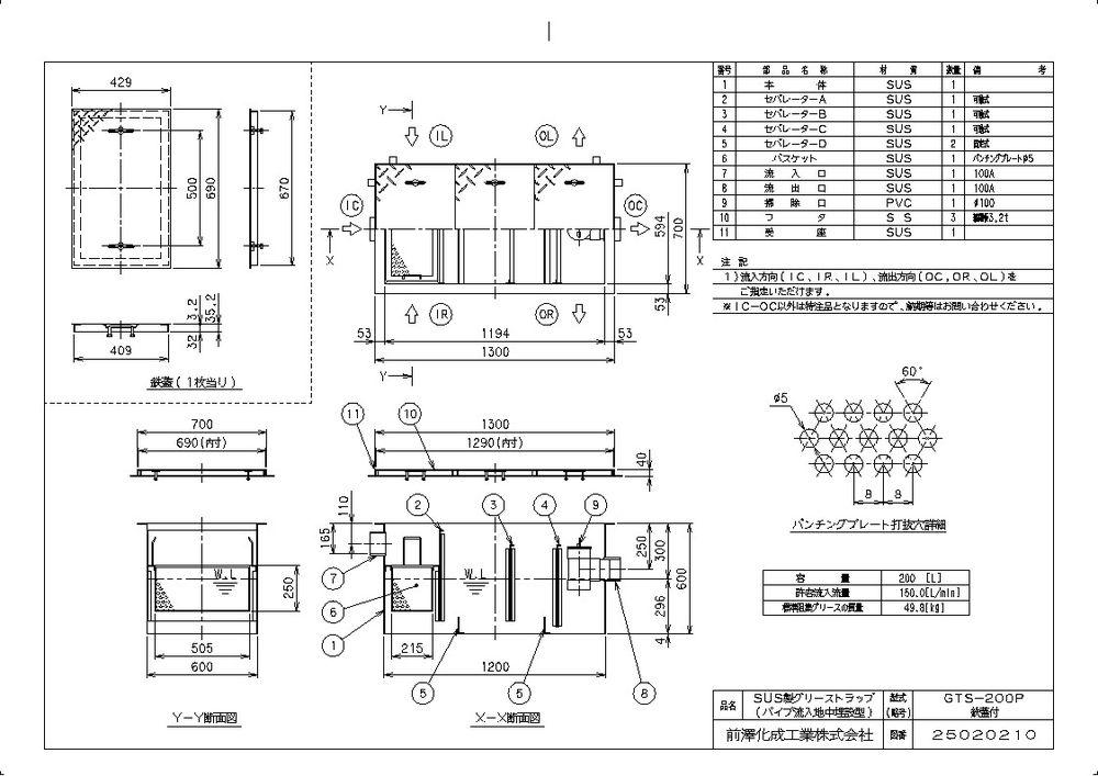 【送料無料】【納期:都度問合せ】前澤化成工業 SUS製グリーストラップ GTS-P(品番:GTS-200P パイプ流入埋設型 鉄蓋付)