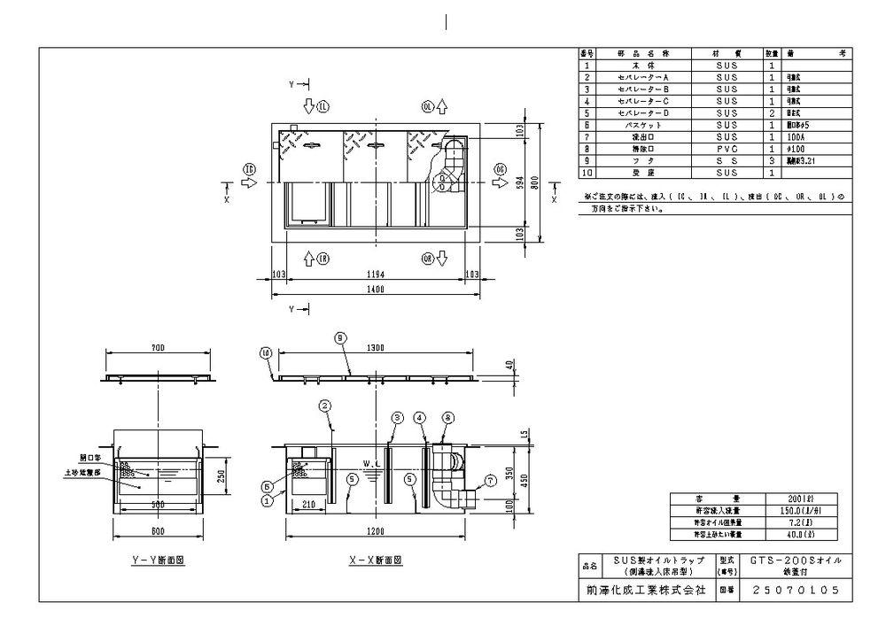 【送料無料】【納期:都度問合せ】前澤化成工業 SUS製オイルトラップ 側溝流入埋設型 GTS-Sオイル(品番:GTS-200Sオイル 鉄蓋付)