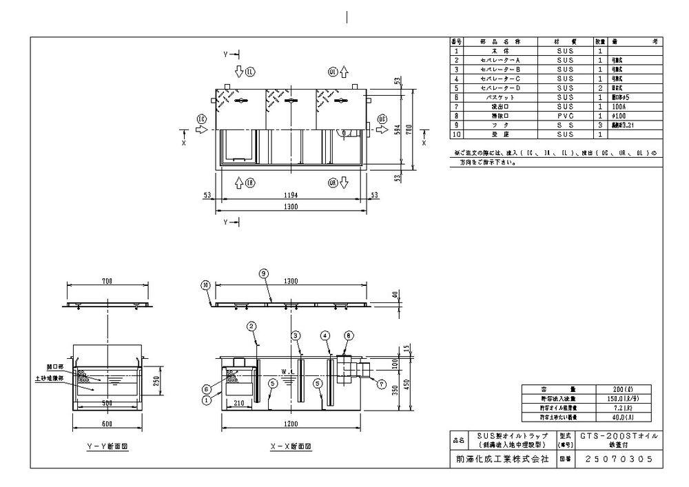 【送料無料】【納期:都度問合せ】前澤化成工業 SUS製オイルトラップ 側溝流入埋設型 GTS-STオイル(品番:GTS-200STオイル 鉄蓋付)