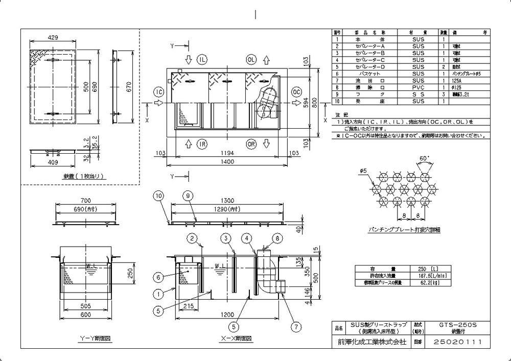 【送料無料】【納期:都度問合せ】前澤化成工業 SUS製グリーストラップ 側溝流入床吊型 GTS-S(品番:GTS-250S 鉄蓋付)