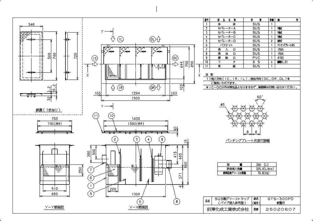 【送料無料】【納期:都度問合せ】前澤化成工業 SUS製グリーストラップ パイプ流入床吊型 GTS-PD(品番:GTS-300PD 鉄蓋付)
