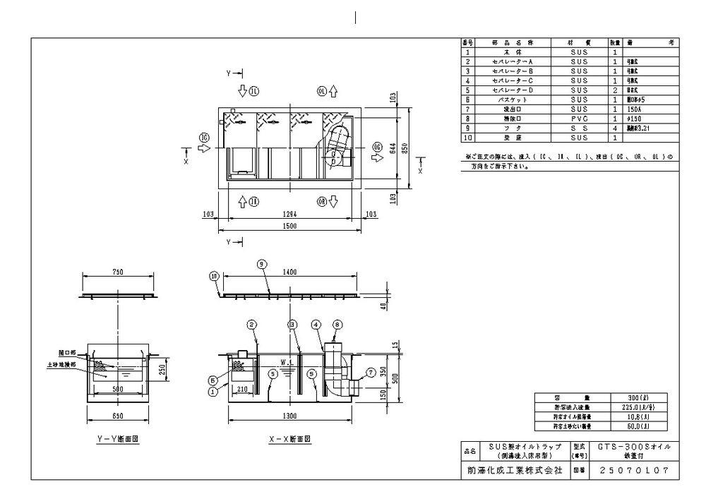 【送料無料】【納期:都度問合せ】前澤化成工業 SUS製オイルトラップ 側溝流入埋設型 GTS-Sオイル(品番:GTS-300Sオイル 鉄蓋付)