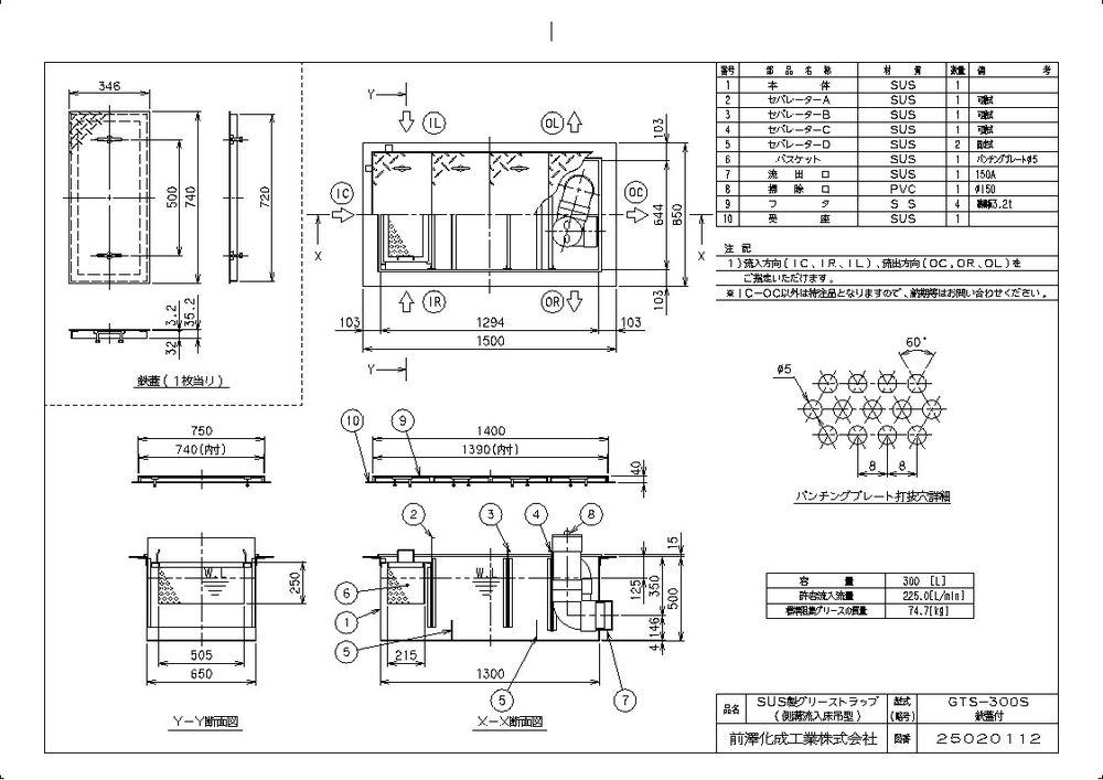 【送料無料】【納期:都度問合せ】前澤化成工業 SUS製グリーストラップ 側溝流入床吊型 GTS-S(品番:GTS-300S 鉄蓋付)