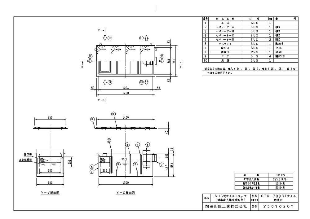 【送料無料】【納期:都度問合せ】前澤化成工業 SUS製オイルトラップ 側溝流入埋設型 GTS-STオイル(品番:GTS-300STオイル 鉄蓋付)