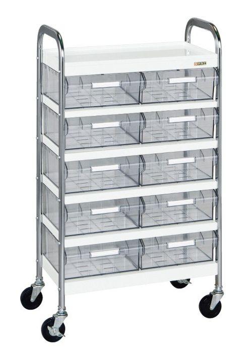 公式サイト CSワゴン透明ボックス付(品番:CSD-10T)『022585』ワゴン:セルフメイド 【送料無料】【メーカー取寄品(き決済時、要問合せ)】サカエ-DIY・工具