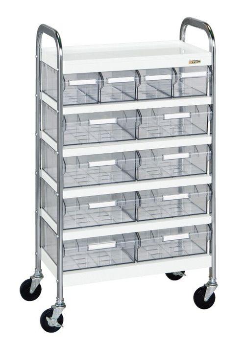 【送料無料】【メーカー取寄品(代引き決済時、要問合せ)】サカエ CSワゴン透明ボックス付(品番:CSD-48T)『022586』ワゴン