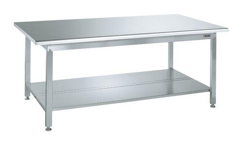 【送料無料】【メーカー取寄品(代引き決済時、要問合せ)】サカエ ステンレス作業台(天板R付)・中板2枚付(品番:SUS4-187T2R)『082005』ステンレス製品