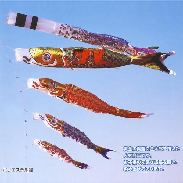 こいのぼり 庭用 黄金金太郎鯉(黄金龍吹流し) 4m 8点 (矢車、ロープ、吹流し、鯉5匹) 大型/ポール別売り フジサン鯉 KOF-O-OK0408