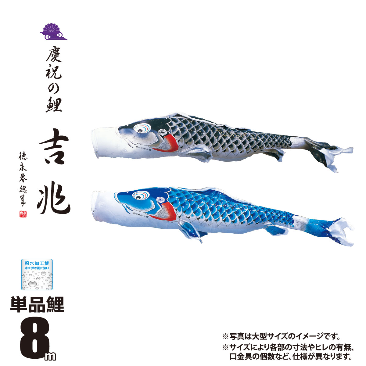 美しい 鯉のぼり 単品 一匹単位吉兆 単品鯉のぼり 8m 口金具付きカラー:黒鯉/青鯉ポリエステルジャガード桐竹鳳凰柄生地 撥水(はっ水)加工徳永鯉のぼり こいのぼり KOT-T-000-552 送料無料, 歩 AYUMI HANDICRAFT df24ae29