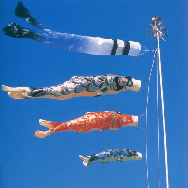 こいのぼり 庭用 撥水加工 皇彩鯉 6m 6点 (矢車、ロープ、吹流し、鯉3匹) 大型/ポール別売り 人形の久月 KOQ-O-OH-018