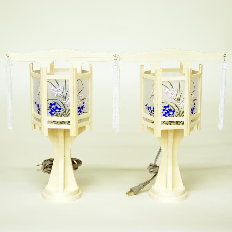 盆提灯 白木灯 『 てんけい 回転 ミニ (一対入り) 』 BCY-867一対 木製 電気コード式 回転灯 (回転 筒付き) 白木 神道 神式