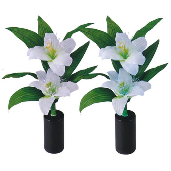 盆提灯 ルミナス 『 ミニルミナス 百合 (一対入り) 』 BCG-8GT-L202一対 電池式 コードレス LED お花 モダン提灯 仏花 常花 造花