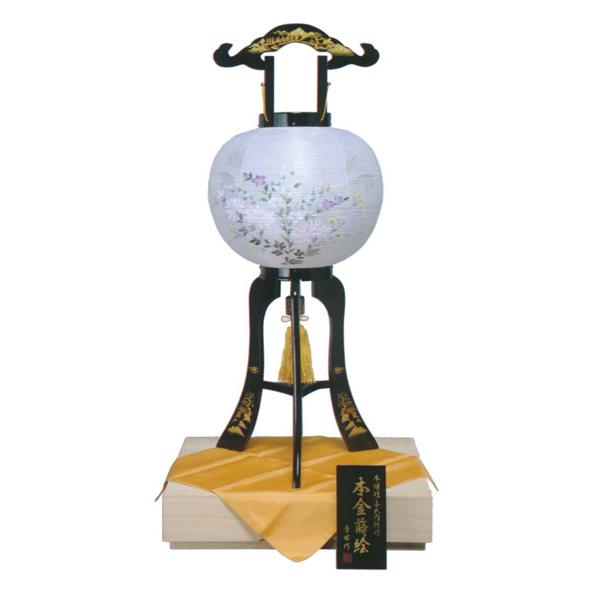 盆提灯 銘木高級品 『 加賀本金蒔絵 行灯 絹二重 桐箱入り 11号 』 BCY-552絹 二重 木製 電気コード式 置き型 置き提灯 行灯 行燈