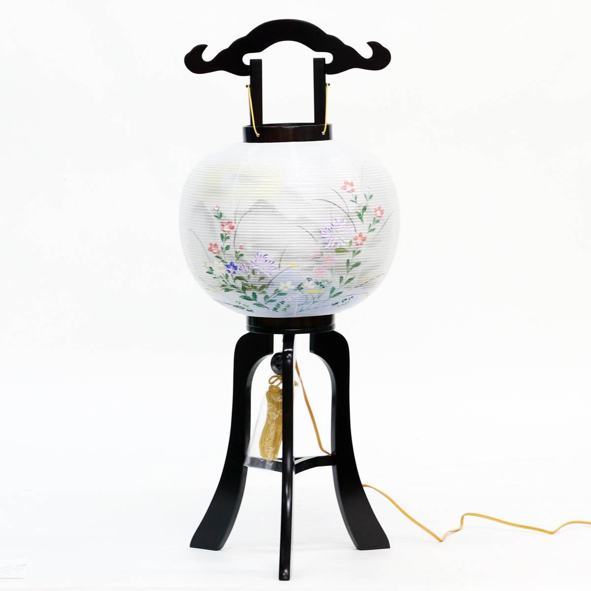 盆提灯 置き型提灯 行灯 『 初島行灯 絹二重 11号 』 BCY-7724絹 二重 木製 電気コード式 置き型 置き提灯 行灯 行燈