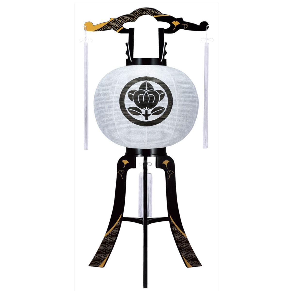 盆提灯 家紋承り提灯 置き型提灯 ミニ行灯 『 綾型蒔絵 紋天 12号 』 BCG-8406-12-002家紋 代金込み プラスチック製 電気コード式 LED 置き型 置き提灯 行灯 行燈