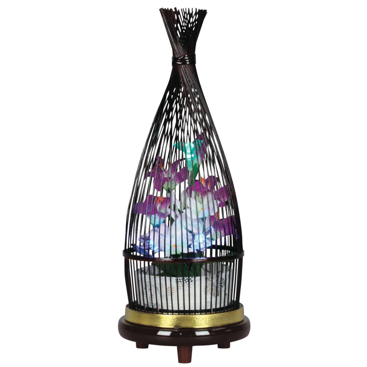 盆提灯 創作提灯 『 華ほたる タメ塗 』 BCG-8842-90-057電気コード式 LED 霊前灯 置き型 置き提灯