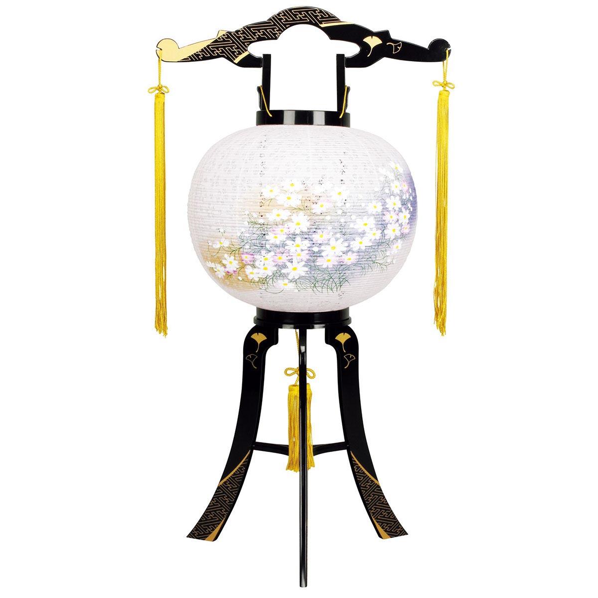 盆提灯 置き型提灯 廻転灯 『 あかり 綾型蒔絵 絵入り 11号 』 BCG-8606-11-718プラスチック製 電気コード式 回転灯 (回転 筒付き) 筒 回転 廻転 回転筒付