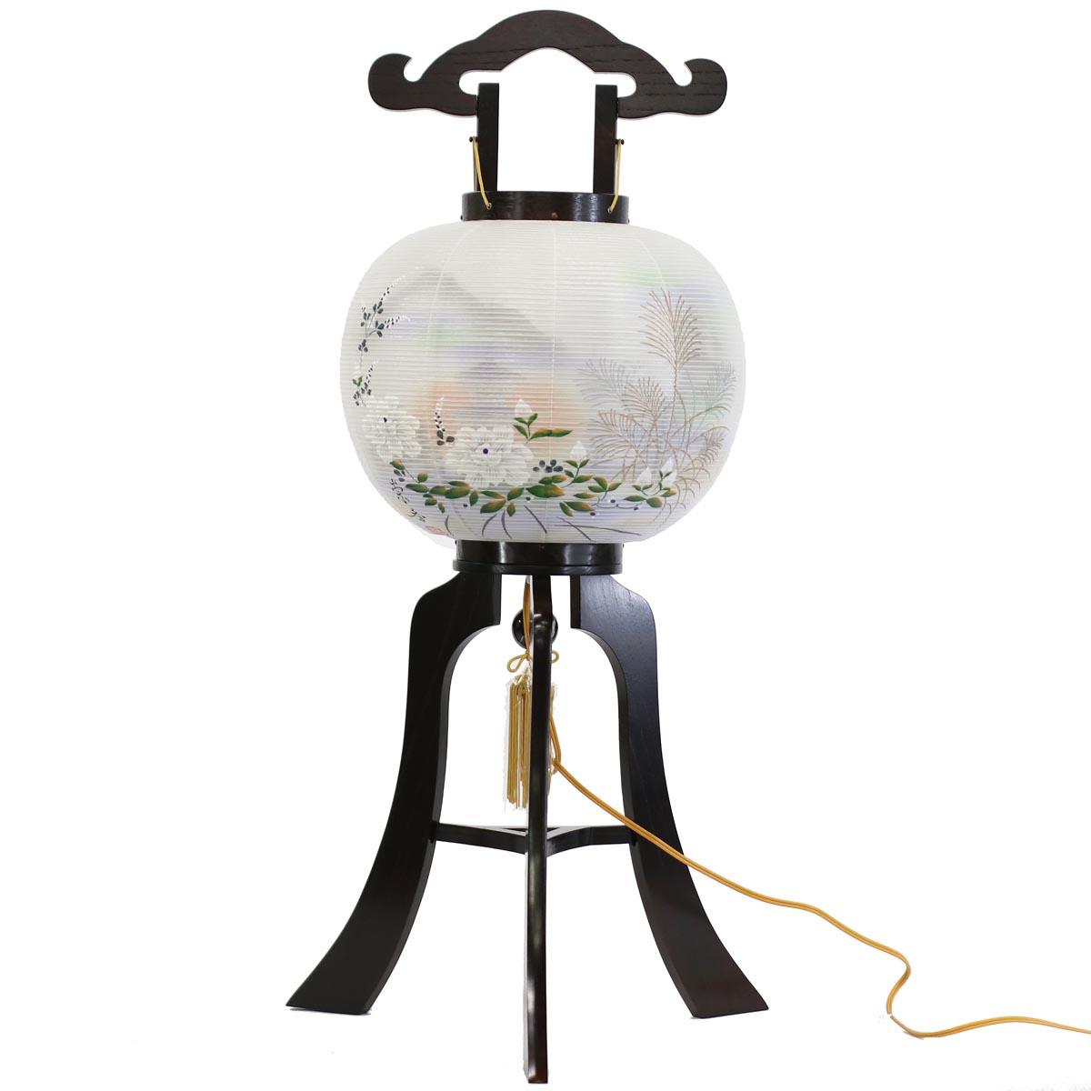【あす楽対応】etc 盆提灯 置き型提灯 行灯 『 黒檀調行灯 牡丹 紫 五重塔 』 BCY-T-1103絹 木製 置き型 置き提灯 行灯 行燈