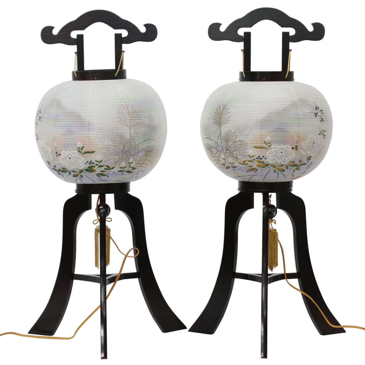 盆提灯 『 黒檀調行灯 絹二重 対絵 牡丹 紫 五重塔 (一対入り) 』 BCY-T-1103W一対 絹 木製 置き型 置き提灯 行灯 行燈