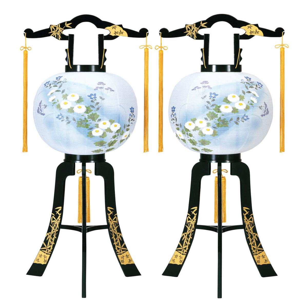 盆提灯 置き型提灯 廻転灯 『 あかり 竹蒔絵 対絵 (一対入り) 12号 』 BCG-8611-12-706W一対 プラスチック製 電気コード式 回転灯 (回転 筒付き) 筒 回転 廻転 回転筒付