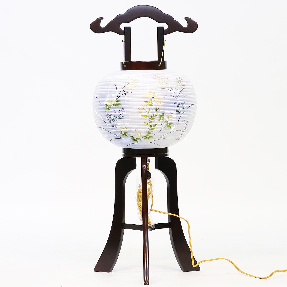 盆提灯 置き型提灯 行灯 『 小谷行灯 絹二重 ブラウン色塗 10号 』 BCY-7704絹 二重 木製 電気コード式 置き型 置き提灯 ミニ 行灯 コンパクト ミニサイズ