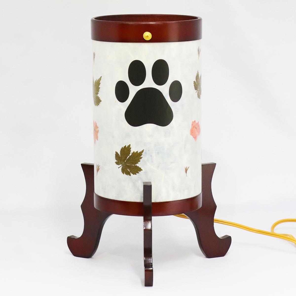 盆提灯 『 ペット用 風花灯 肉球入り サクラ色塗 2号 』 BCY-939P木製 電気コード式 回転灯 (回転 筒付き) ペット用 犬 イヌ 猫 ネコ メモリアル
