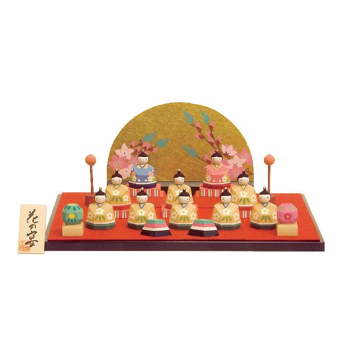 雛人形 南雲工房 伊予一刀彫 一刀彫り 花の宴 HNNK-044おひなさま お雛様 ひな人形 かわいい おしゃれ インテリア 雛