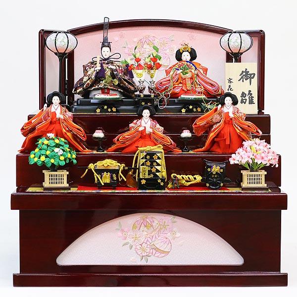雛人形 美光 コンパクト 三段収納飾り ワイン塗り収納飾り 五人揃い (引き出し式収納箱) 雛人形 HNBK-KS3-262ひな人形 かわいい おしゃれ インテリア 雛 コンパクト収納飾り